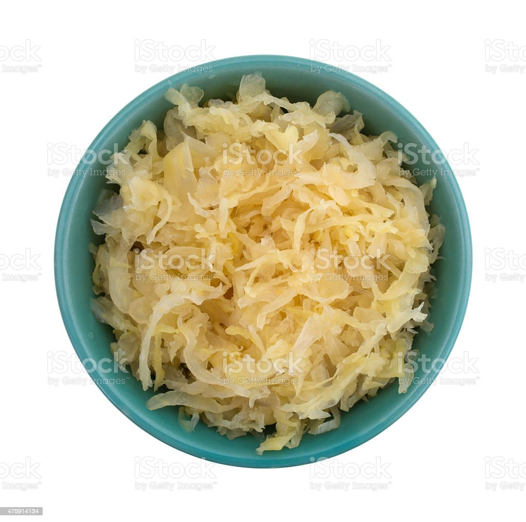 Canned sauerkraut in a small bowl. stock photo