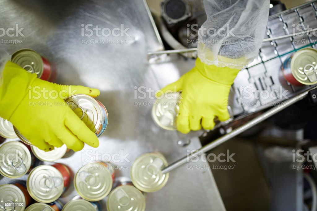 Canned seafood stock photo