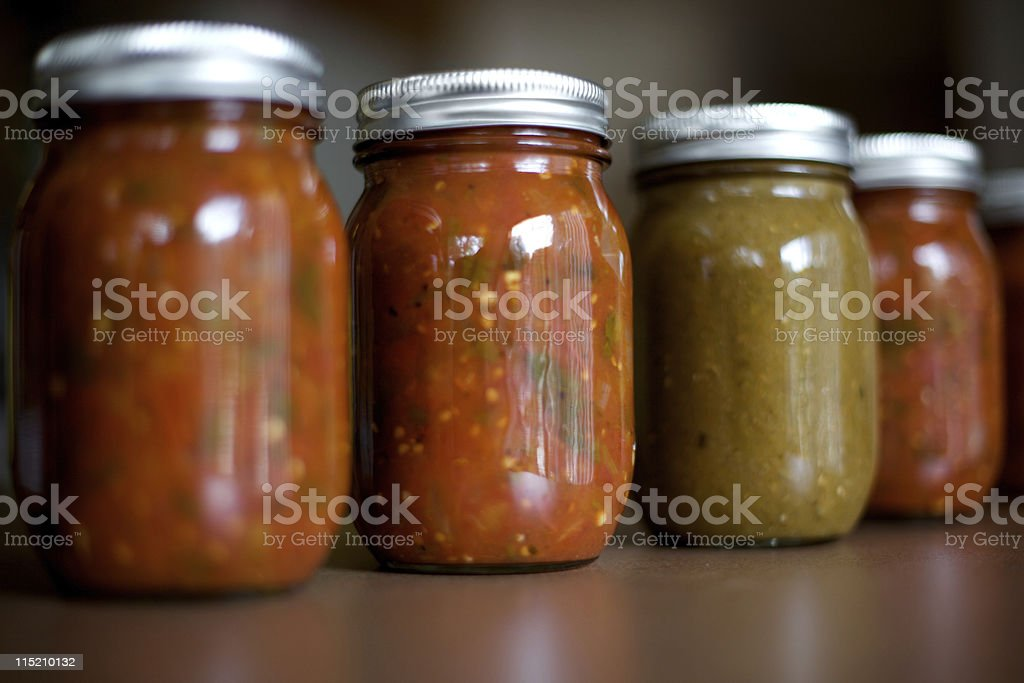 canned spicy mexican salsa stock photo