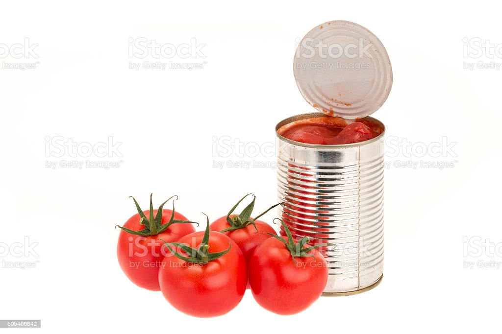 Canned tomatoes stock photo