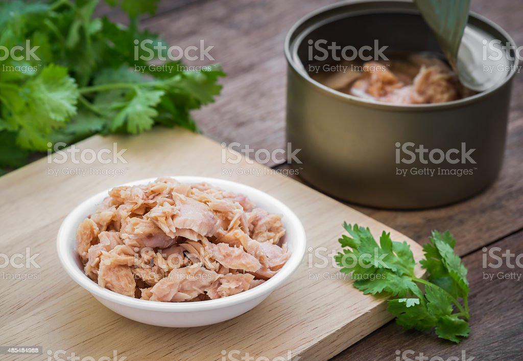 Enlatado atún de peces en bowl - foto de stock