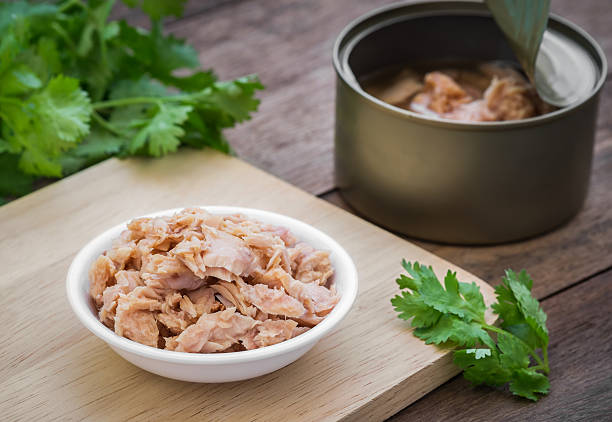 Canned tuna fish in bowl Canned tuna fish in bowl tuna animal stock pictures, royalty-free photos & images