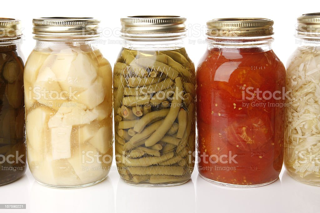 Canned Vegetables in Glass Jars royalty-free stock photo
