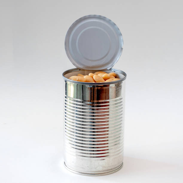 Canned white beans beans on white stock photo