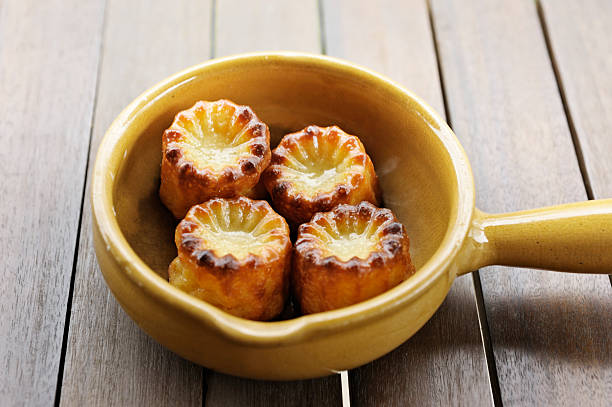 Cannele, traditional French custard desserts stock photo