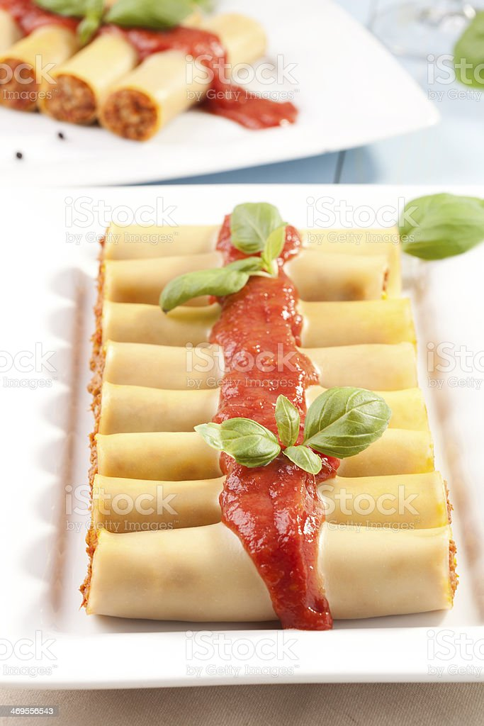cannelloni on plate stock photo