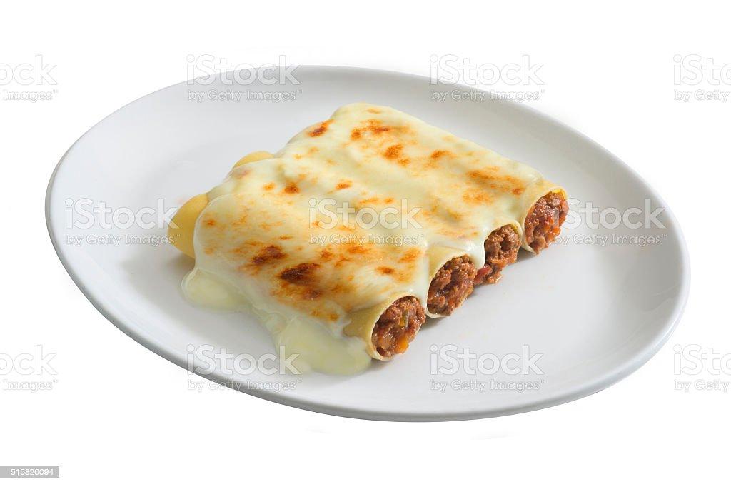 cannelloni ripieni stock photo