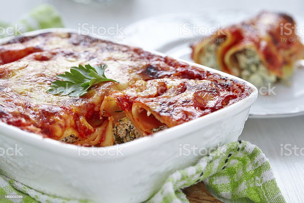 Cannelloni with spinach and ricotta stock photo