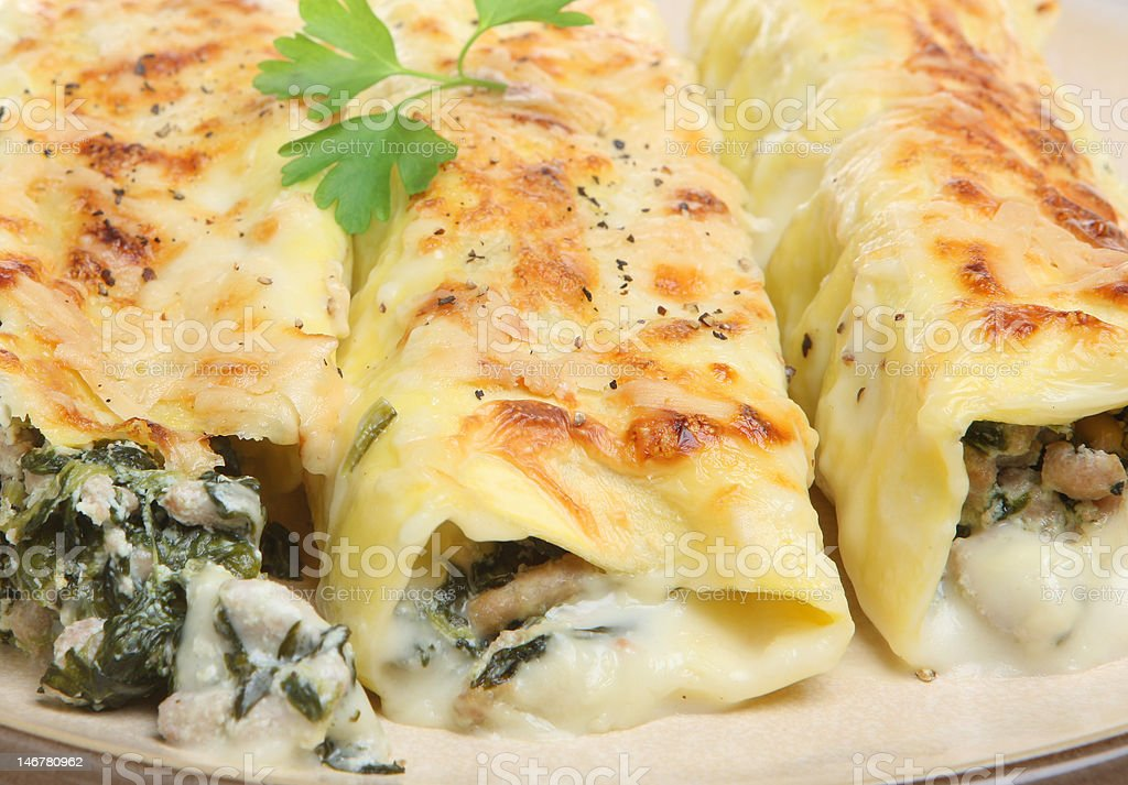 Canneloni Pasta with Spinach and Pork stock photo