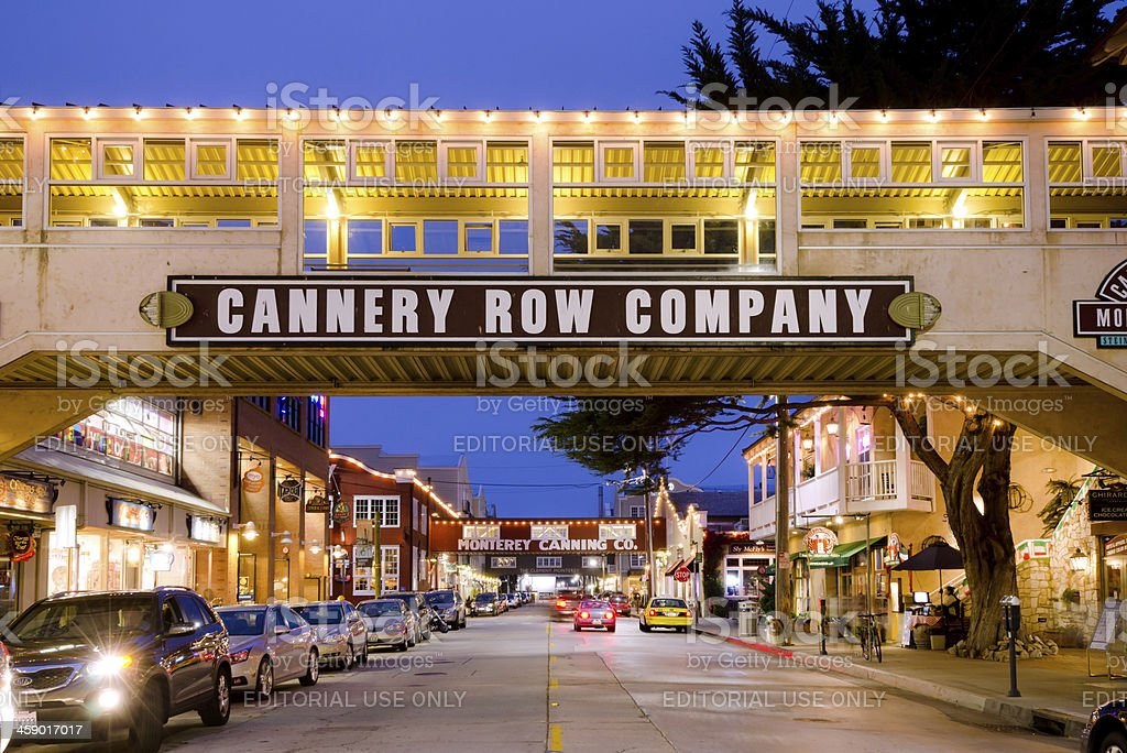 Cannery Row in Monterey, CA at night stock photo