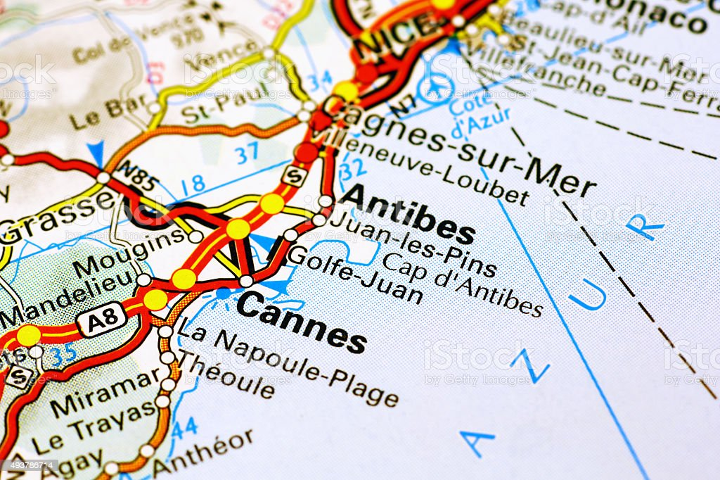 Cannes area on a map stock photo