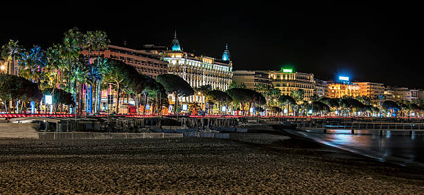 cannes by night - film festival stock photos and pictures