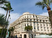 Cannes, France - July 18 2019: Miramar luxury apartments seaside port Croisette travel summer holiday