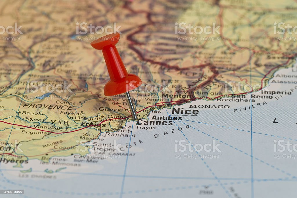 Cannes Marked With Red Pushpin on Map stock photo
