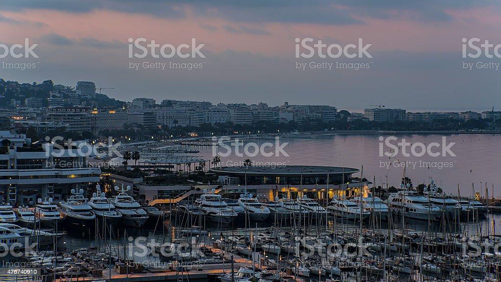 Cannes sunrise stock photo