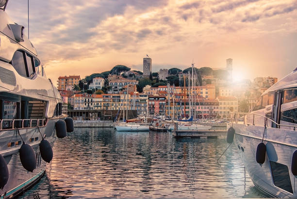 Cannes viewed from the old harbor City of Cannes on the French Riviera high society stock pictures, royalty-free photos & images