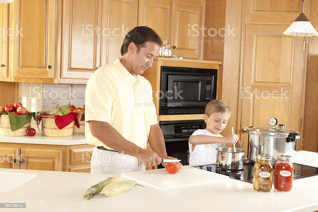 Canning: Father Son Preserving Homegrown Fruits and Vegetables royalty-free stock photo