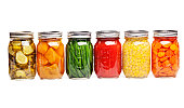 Canning Food Jars of Canned Vegetables Preserved in Glass Storage