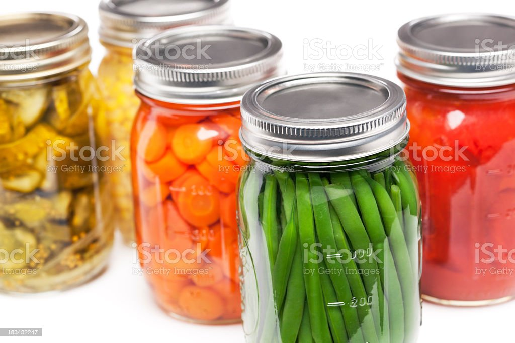 Canning Jars Containing Homegrown Vegetables for Preserved, Canned Food Storage stock photo