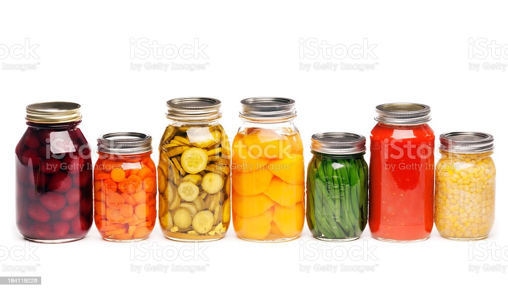 Canning Jars of Canned, Pickled Vegetable Food Preserved for Storage stock photo