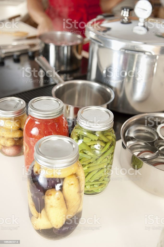 Canning: Preserving Homegrown Fruits Vegetables Fresh from Garden stock photo