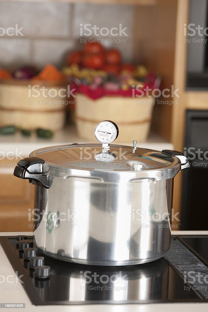 Canning: Pressure Cooker used for Preserving Homegrown Fruits Vegetables stock photo