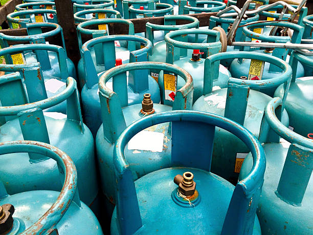 Cannisters of cooking gas. stock photo