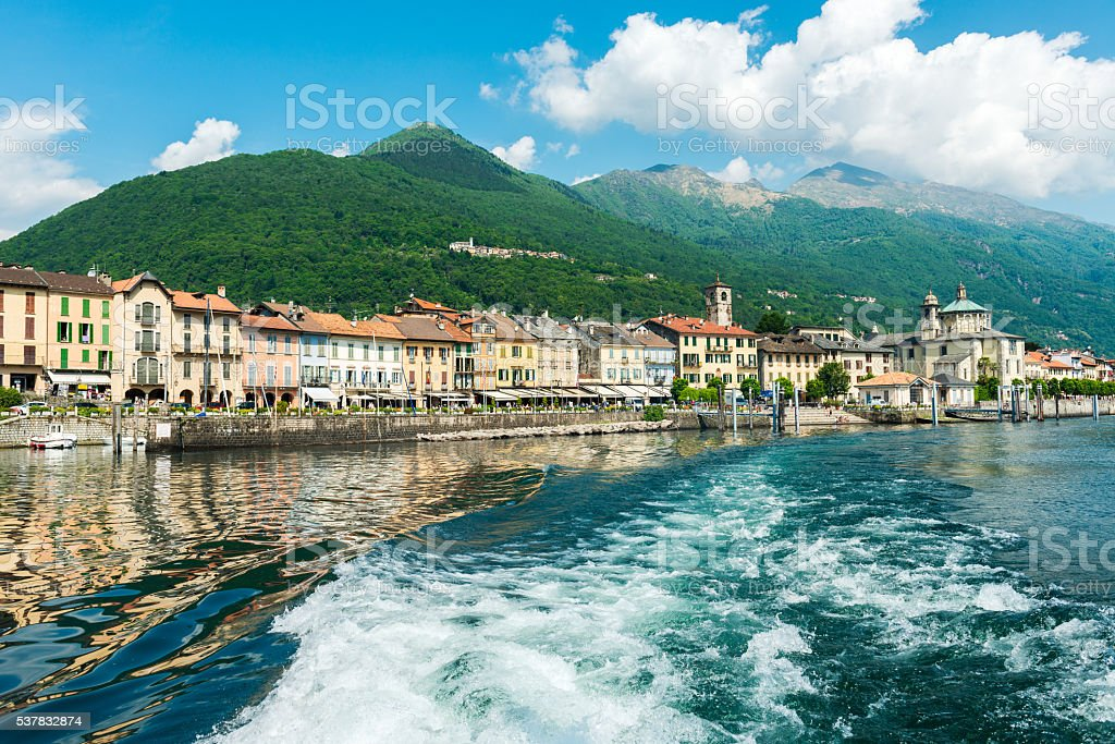 Cannobio at Lake Maggiore from lakeside stock photo