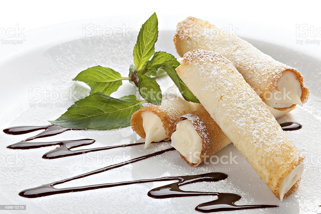 Cannoli. Sicilian pastry desserts. stock photo