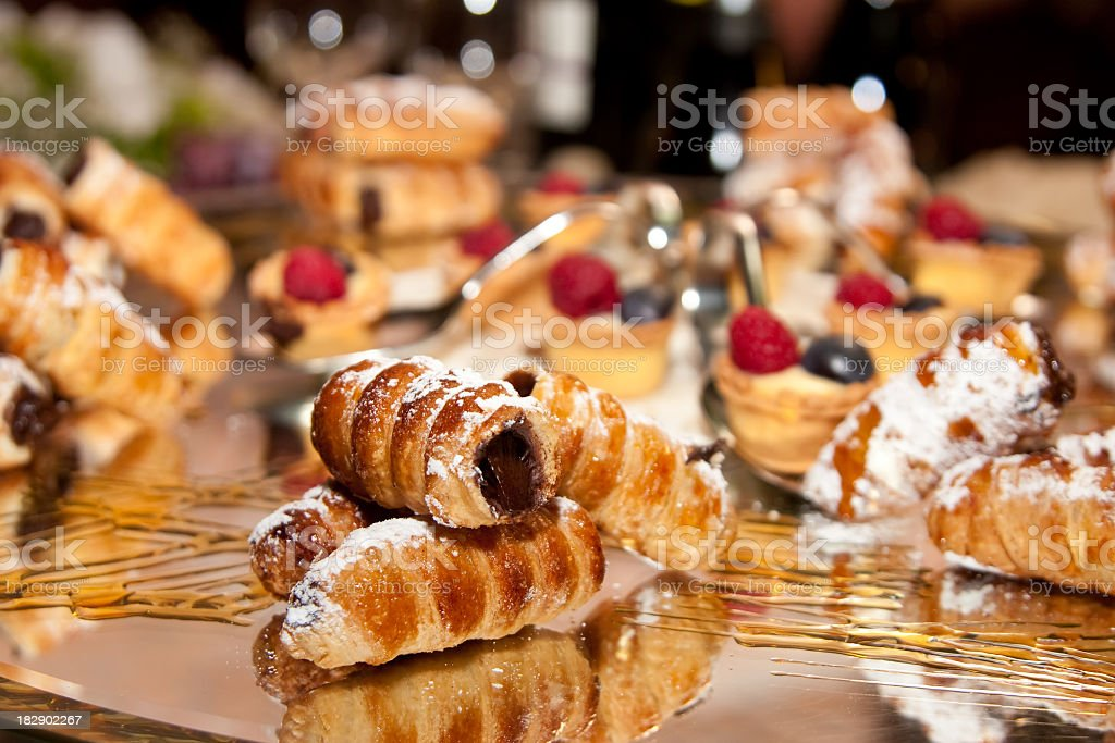 cannoli with chocolate and various pastries royalty-free stock photo