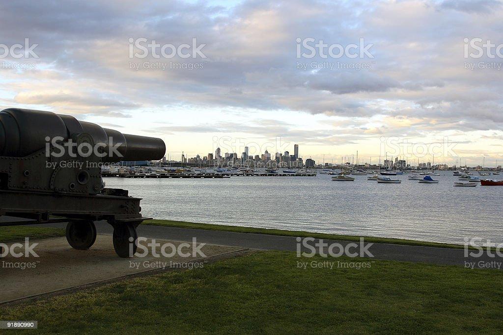 Cannon Aimed At City stock photo