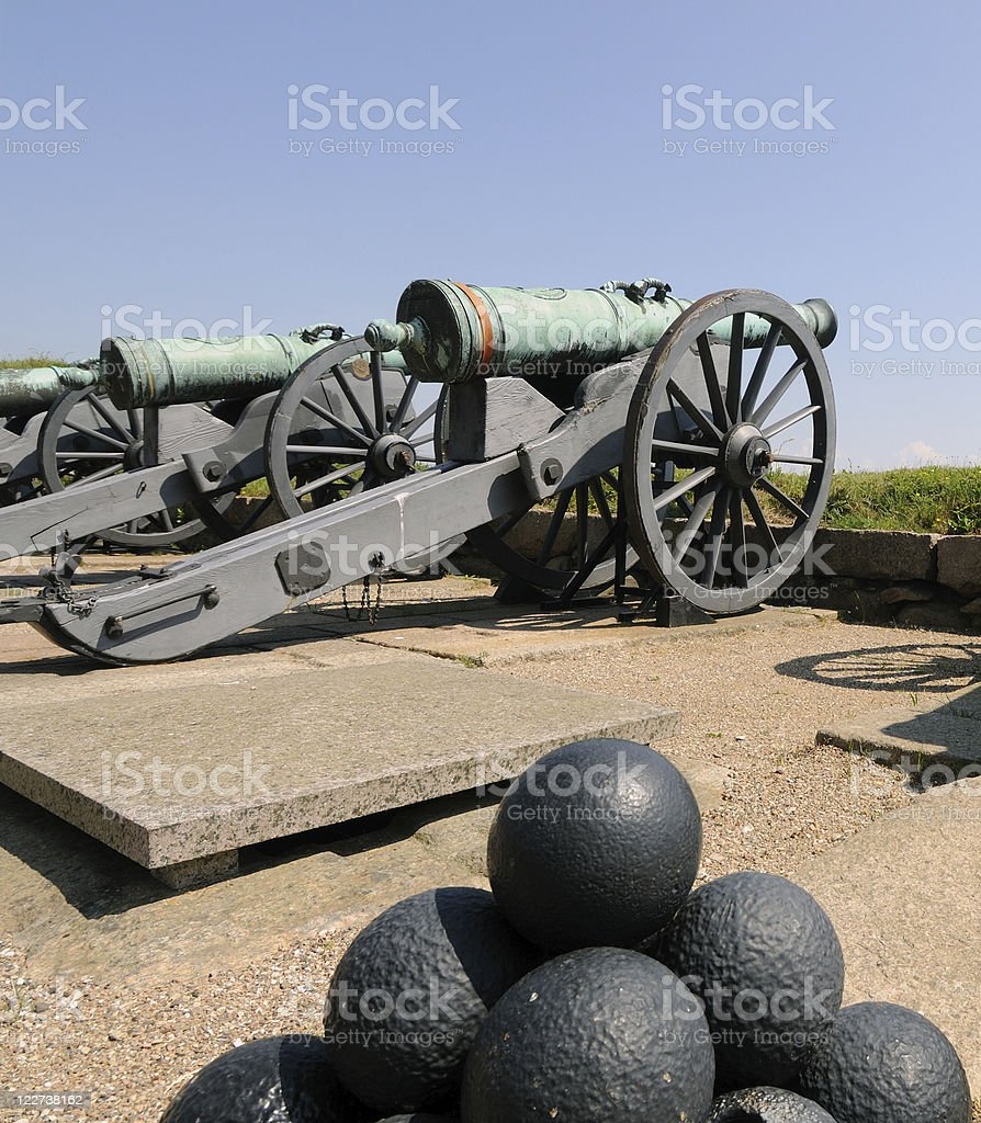 Cannon and Balls, Helsingor stock photo