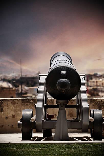 Cannon at dusk stock photo