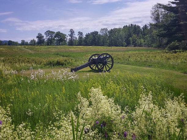 Cannon at Freeman Farm, Saratoga Historical Park Battlefield, New York stock photo
