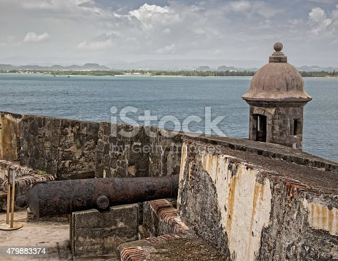 A old rusty cannon stands watch at the old Spanish fort of Castillo San Felipe del Morro in San Juan, Puerto Rico.