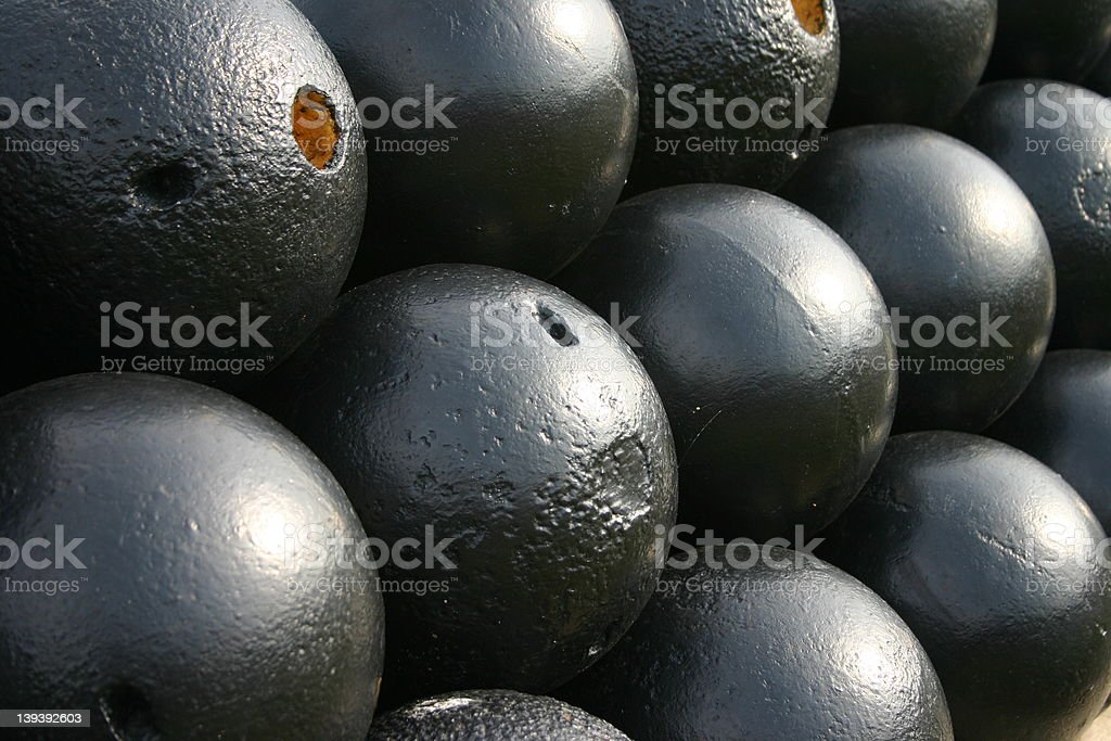 Cannon balls royalty-free stock photo