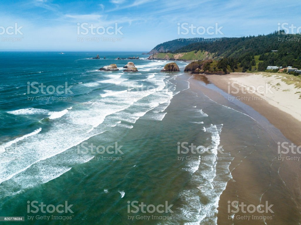 cannon beach aerial view stock photo