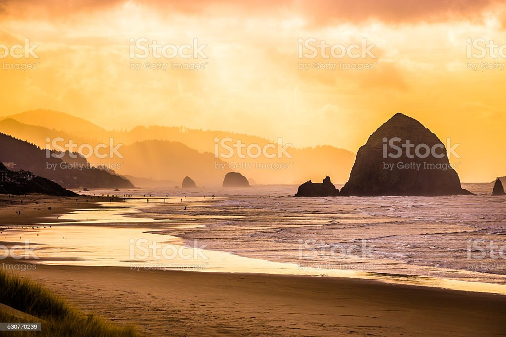 Cannon Beach on the Oregon Coast stock photo