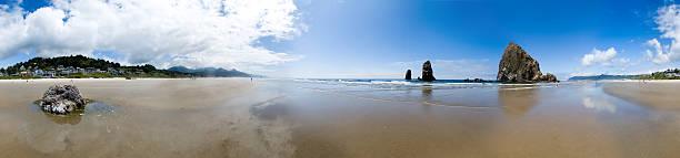 Cannon Beach - Perfect 360 degree Panoramic Shot stock photo