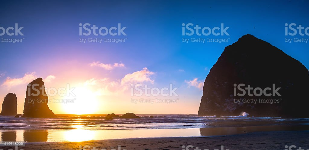 Cannon Beach Sunset, Oregon USA Tourism stock photo