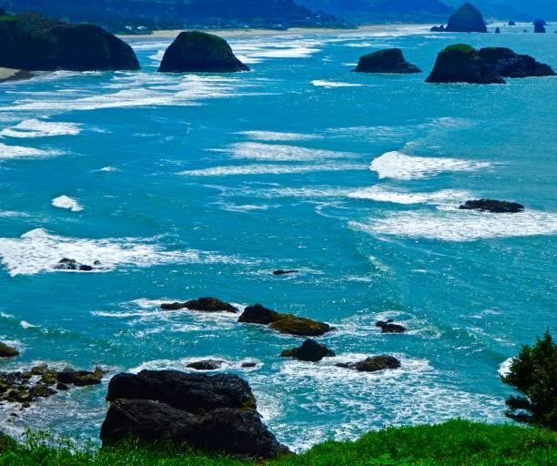 Cannon Beach Turquoise stock photo
