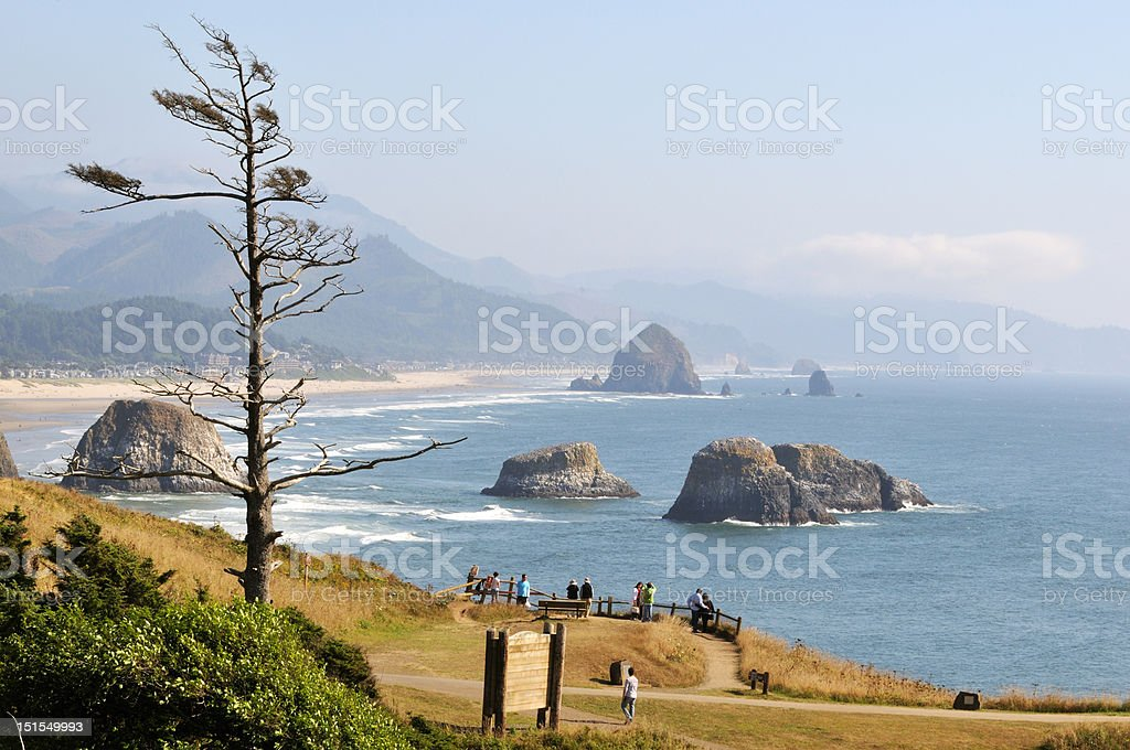 Cannon Beach viewed from Ecola State park stock photo