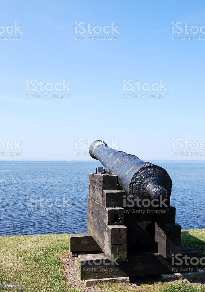 Cannon by the water stock photo