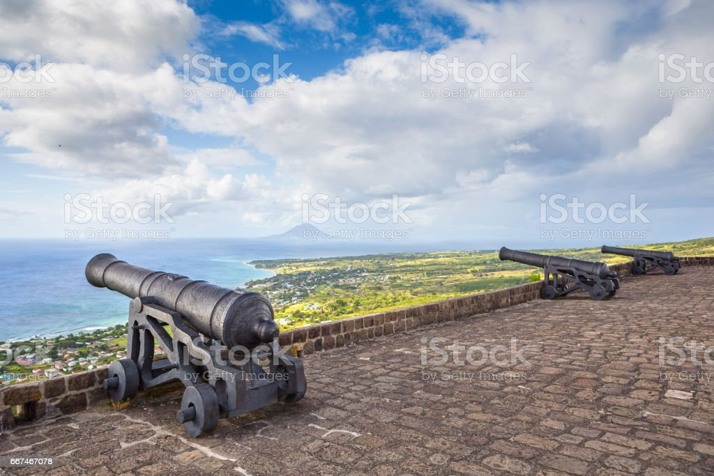Cannon faces the Caribbean Sea at Brimstone Hill Fortress on Saint Kitts stock photo