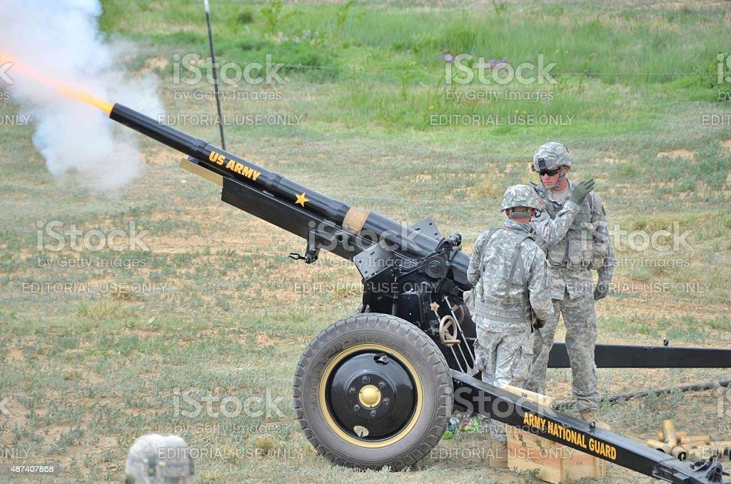 Cannon Firing stock photo