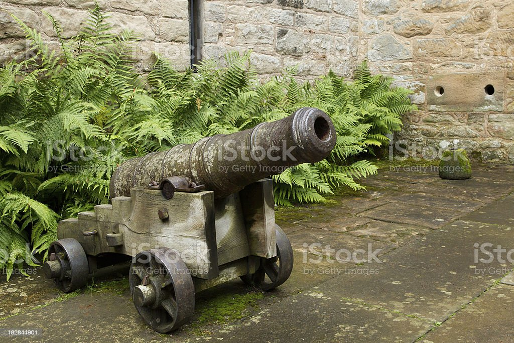 Cannon guarding the entrance to Cawdor Castle stock photo