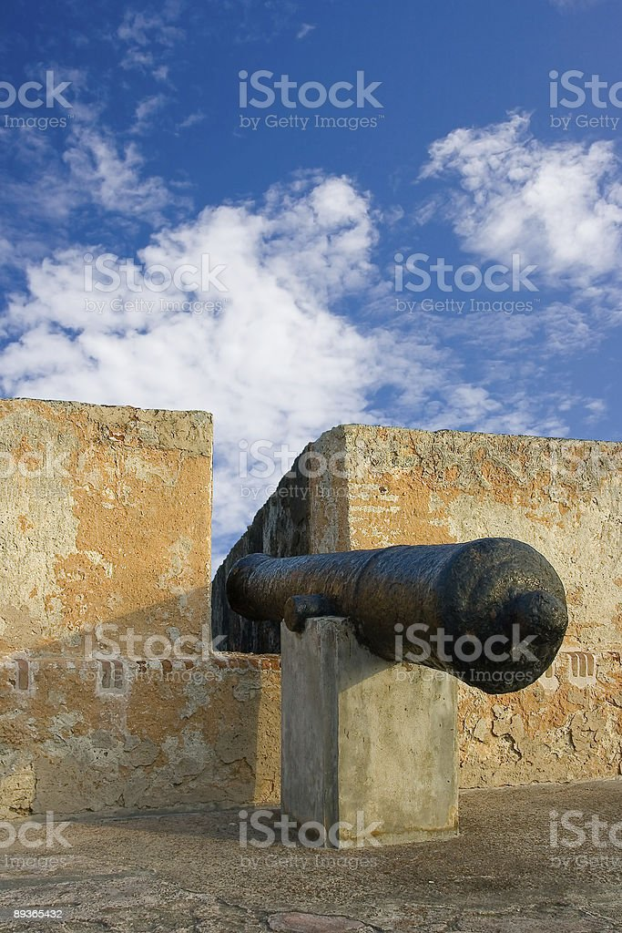 Cannon in an old fort royalty free stockfoto