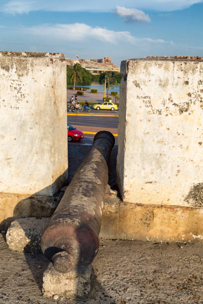 cannon in the afternoon - cartagena museum stock photos and pictures
