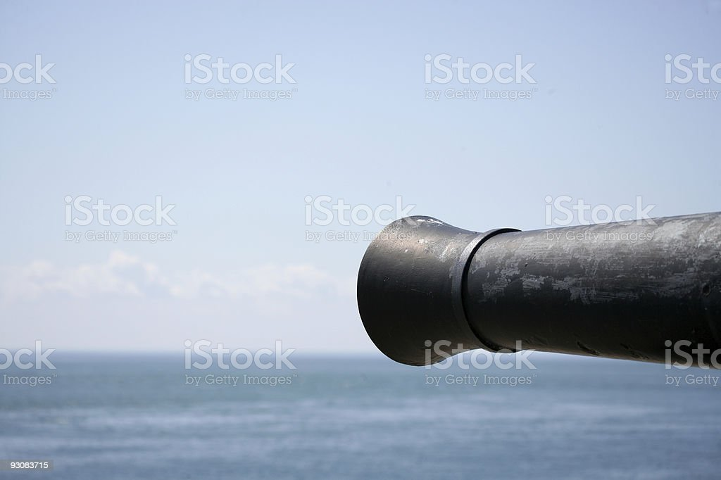 Cannon located in Fort Niagara Pointed at Lake Ontario stock photo