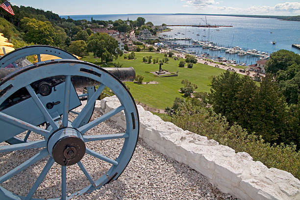 cannon look out! - mackinac island stock photos and pictures